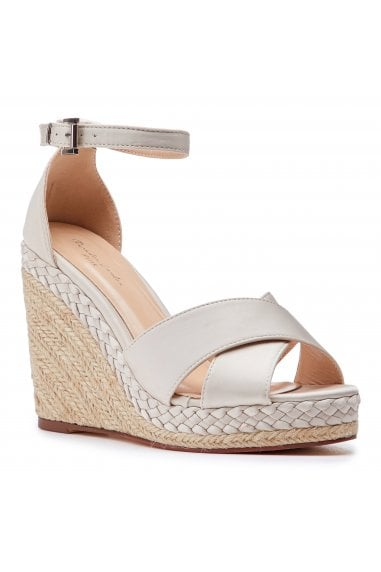 Yolanda Champagne High Heel Ankle Strap Crossover Espadrilles