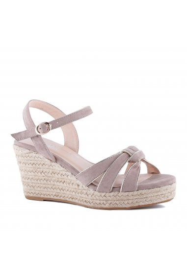 Theodore Taupe Micro Suede Wedge Heel Espadrilles