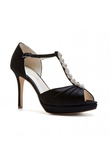 Cindy Black High Heel T-Bar Platform Sandals