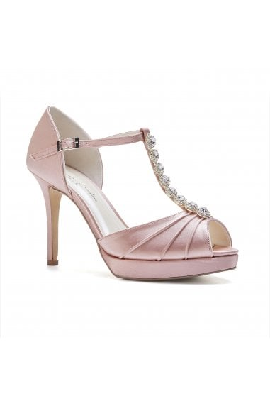 Cindy Blush High Heel T-Bar Platform Sandals