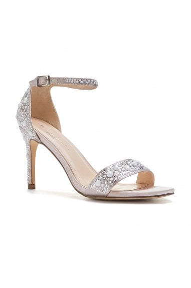 Hampton Taupe High Heel Barely There Sandals With Pear Detail