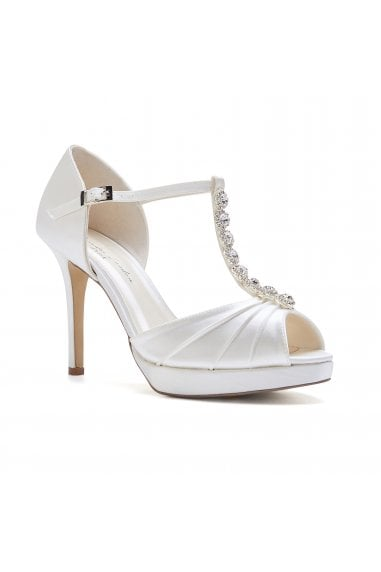 Cindy Ivory High Heel T-Bar Platform Sandals