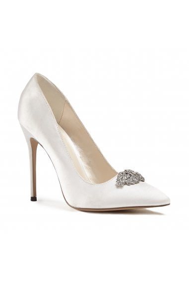 Alandra Ivory High Stiletto Jewelled Court Shoes