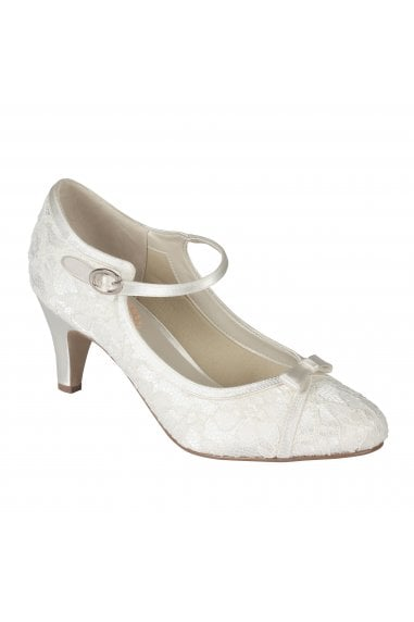 Cupcake Ivory Low Heel Lace Mary Jane Shoes