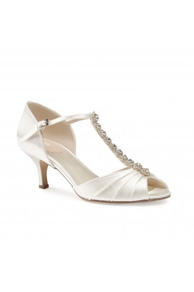 Fantasy Ivory Low Heel T-Bar Diamante Sandals