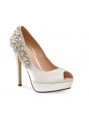 Indulgence Ivory High Heel Platform Peep-Toe Shoes