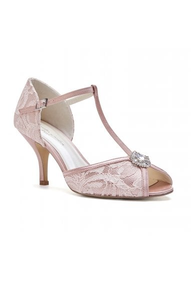 Charlotte Blush Low Heel Satin & Lace T-Bar Sandals