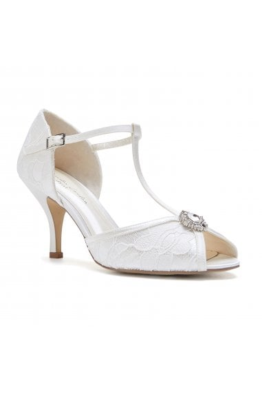 Charlotte Ivory Low Heel Satin & Lace T-Bar Sandals