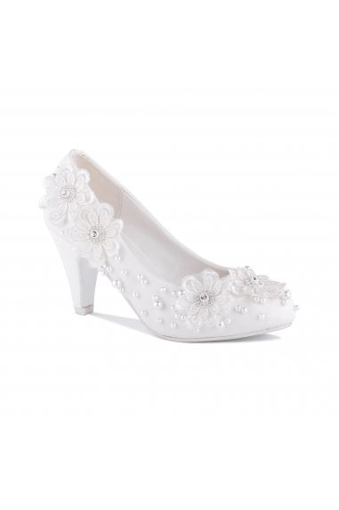 Uma White High Heel Embellished Court Shoes