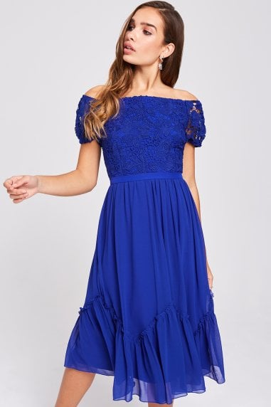 Sian Cobalt Crochet Bardot Midi Dress