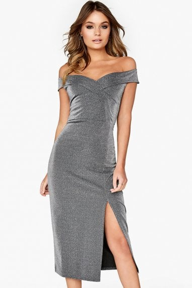 Silver Bardot Dress