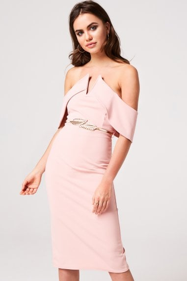 1449acf9d36a Peony Pink Bardot Bodycon Midi Dress