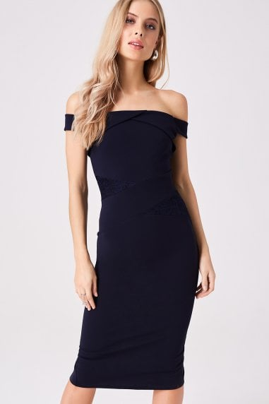 Allure Navy Lace Insert Bardot Midi Dress
