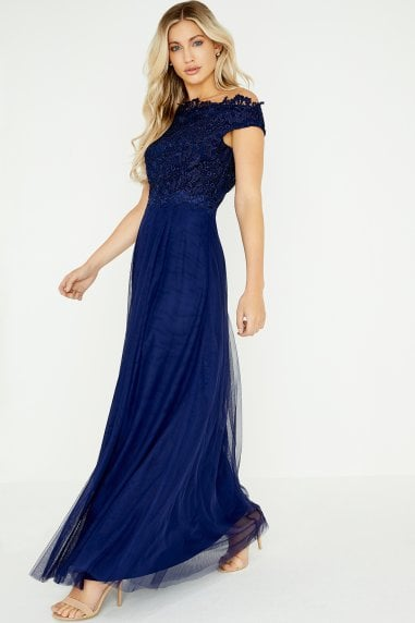 Lizzy Navy Lace Bardot Maxi Dress