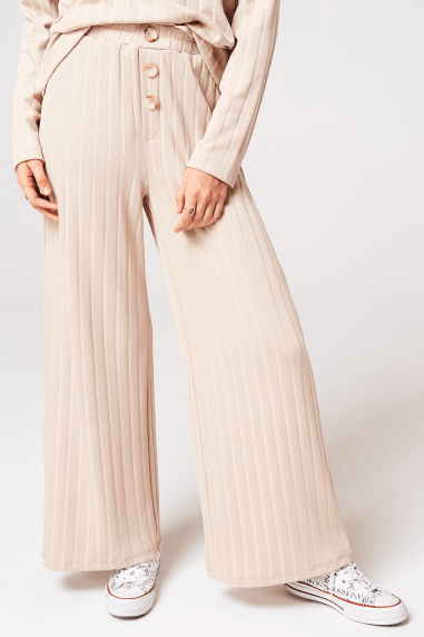 Nimble Biscuit Rib Button Trousers Co-ord