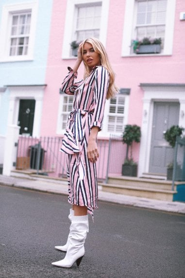 Liquorish Pink Stripe Asymmetric Dress