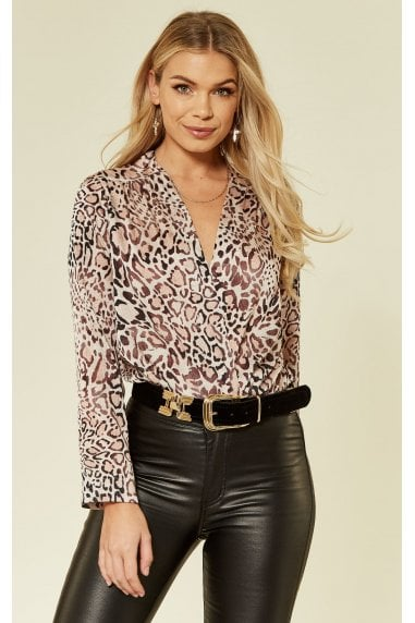 Leopard Print Long Sleeve Wrap Bodysuit