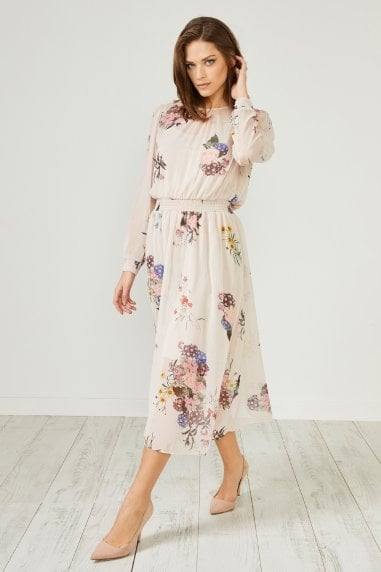 Cream Floral Print Long Sleeve Midi Dress