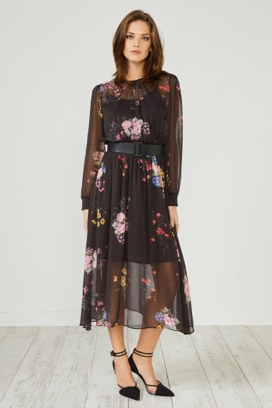 Black Floral Print Long Sleeve Midi Dress