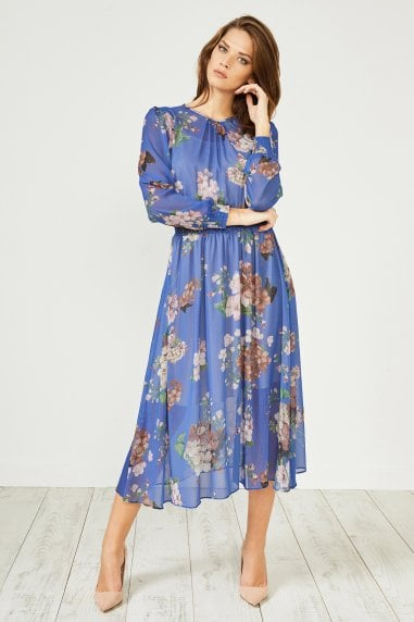 Blue Floral Print Long Sleeve Midi Dress