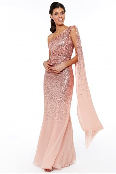 Peach One Shoulder Sequin & Chiffon Maxi Dress