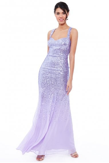 Lavender Criss Cross Back Sequin Maxi Dress