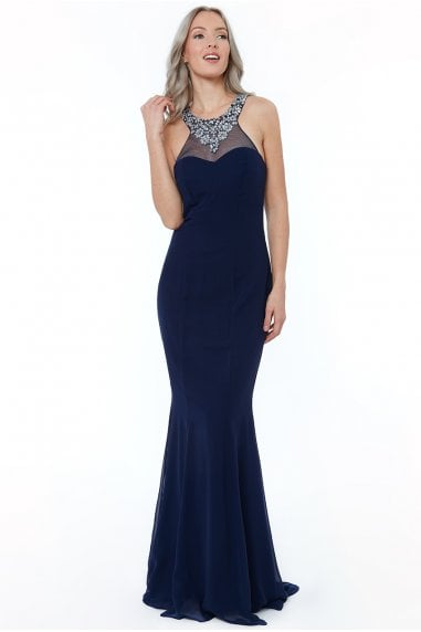 d685d6985a0 Navy High Neck Embellished Maxi Dress