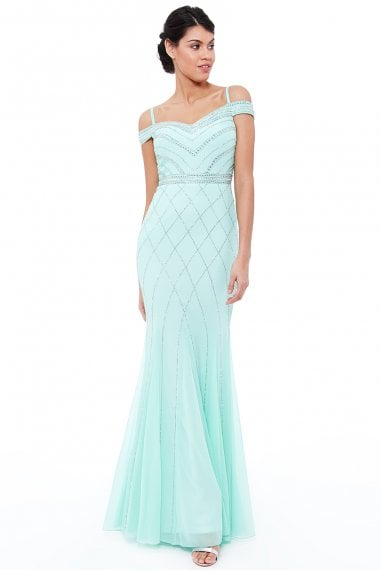 Mint Off the Shoulder Embroidered Sequin Maxi Dress