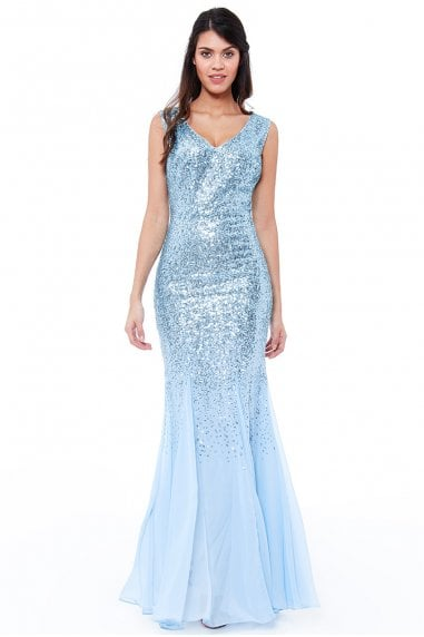 Powder Blue Sequin and Chiffon Maxi Dress