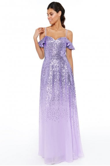 Lavender Flutter Sleeve Sequin & Chiffon Maxi Dress