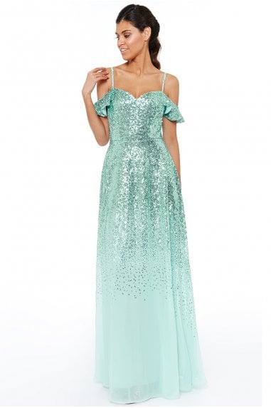 032da48d0e5 Mint Flutter Sleeve Sequin   Chiffon Maxi Dress · Goddiva ...