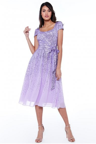 Lavender Sequin & Chiffon Belted Midi Dress