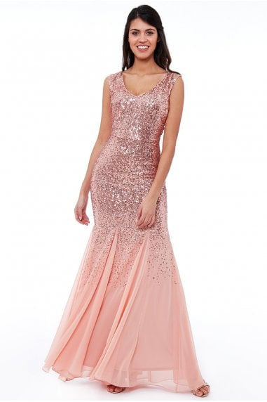 Peach Sequin and Chiffon Maxi Dress
