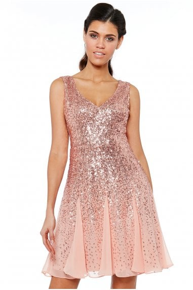 Peach Sequin & Chiffon Mini Dress