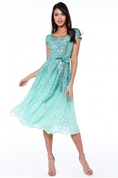 Mint Sequin & Chiffon Belted Midi Dress