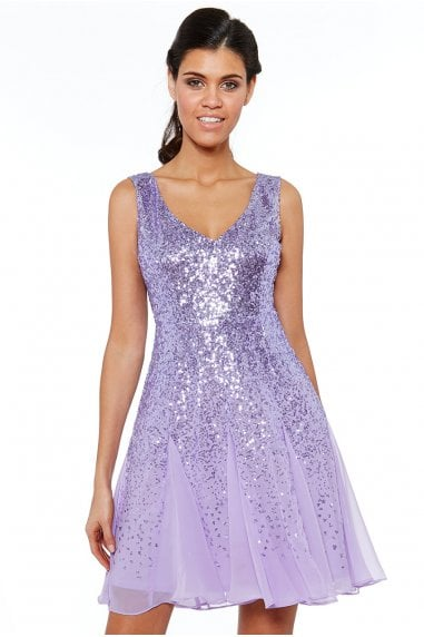 Lavender Sequin & Chiffon Mini Dress
