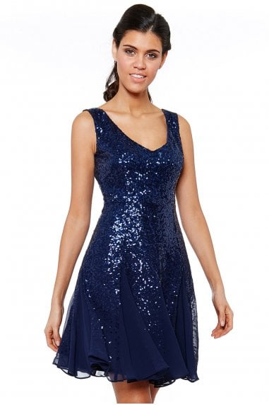 Navy Sequin & Chiffon Mini Dress