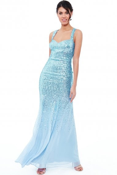 Powder Blue Criss Cross Back Sequin Maxi Dress