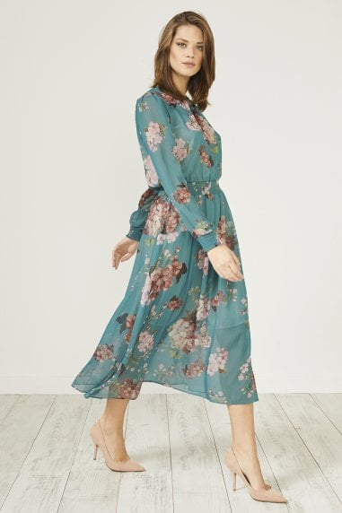 Dark Green Floral Print Long Sleeve Midi Dress