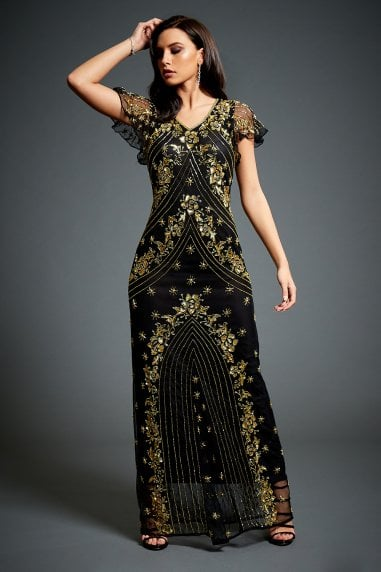 Twinkle Black Embellished Evening Maxi Dress