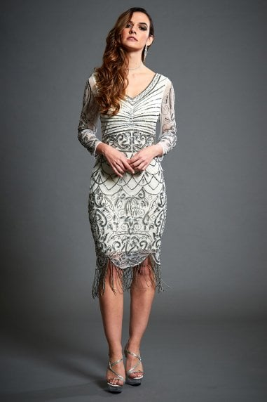 Tabitha Off-White Embellished Short Flapper Dress