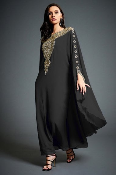 Amina Black Embellished Kaftan Maxi Dress