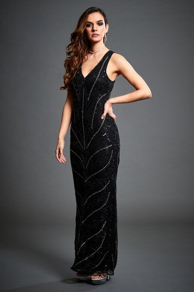 Monica Black Embellished Evening Maxi Dress