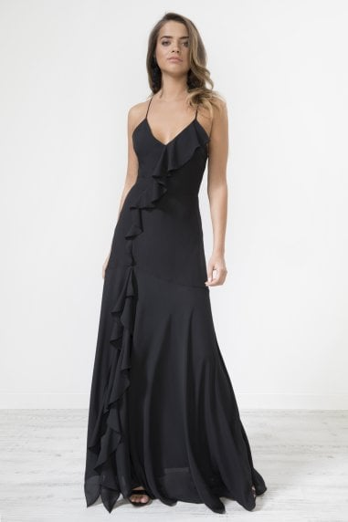Black Frill Detail Strapped Back Maxi Dress