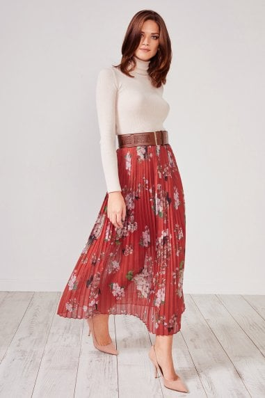 Red Floral Pleated Midi Skirt