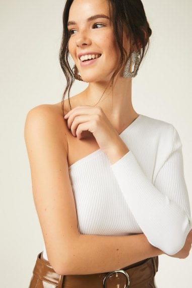 One Shoulder Knitted TopWhite
