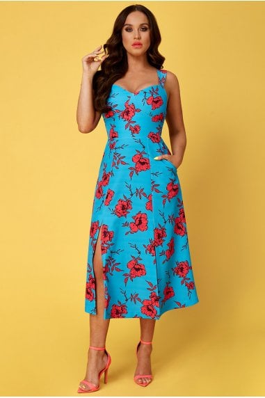 Vicky Pattison Azure Floral Strap Tea Dress with Slits