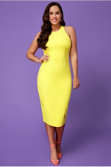 Vicky Pattison Lemon Bow Back Midi Dress