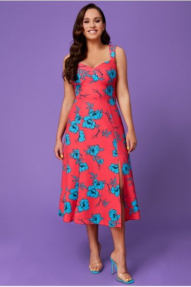 Vicky Pattison Hot Pink Floral Strap Tea Dress with Slits