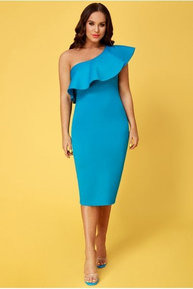 Vicky Pattison Azure One Shoulder Frill Neck Dress